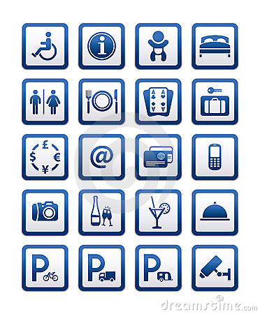 Free Symbols Hotel Services. Signs Set Motel Services Stock Photos - 20403783