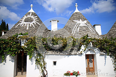 Symbols at Italian trulli in Alberobello