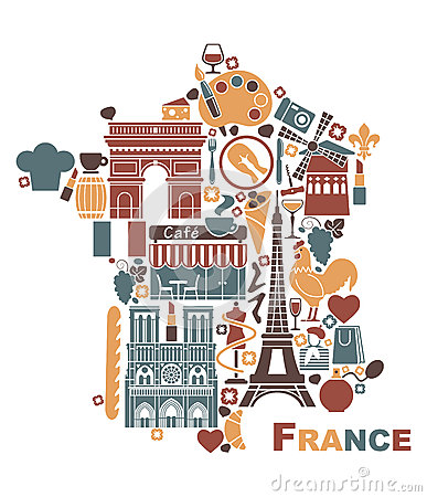 Free Symbols Of France In The Form Of A Map Royalty Free Stock Photo - 41386195