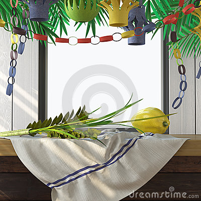 Free Symbols Of The Jewish Holiday Sukkot With Palm Leaves Royalty Free Stock Images - 57596169