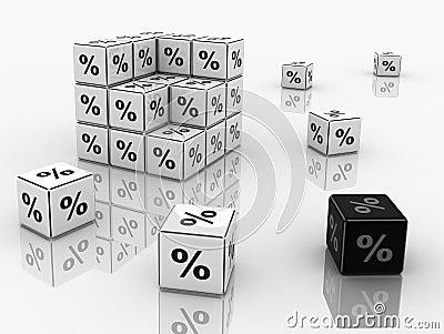 Symbols of percent on cubes