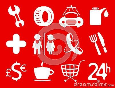 Symbols roadside services.
