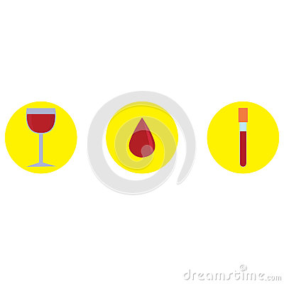 Symbols of wine, Blood and test tube, Drop of blood, Vector icon illustration. Vector Illustration