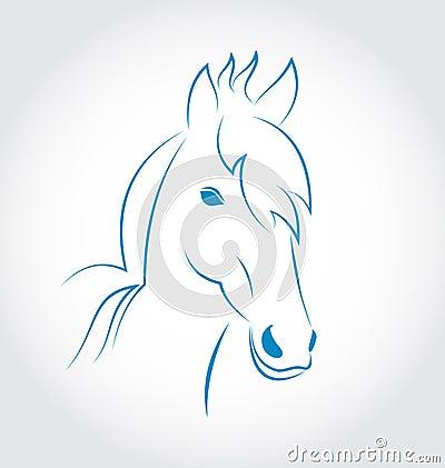 Symbolu konturu głowy koń na białym tle