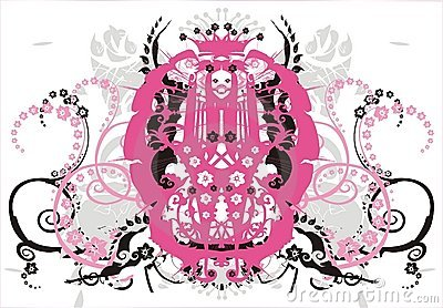 Symmetric ornament with flowers and curls - vector