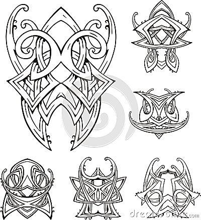 Symmetric tribal knot tattoos