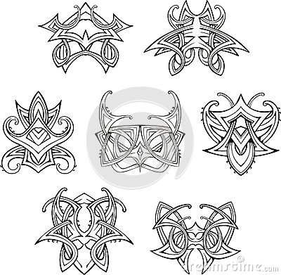 Symmetric tribal knot tattoos