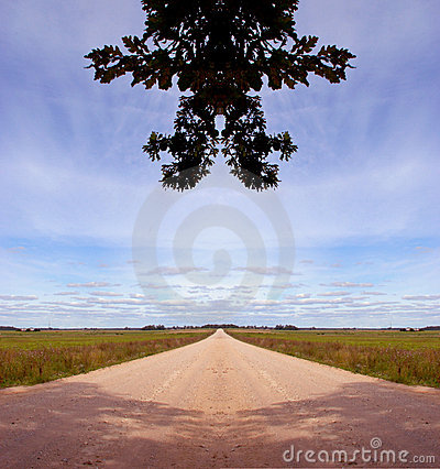 Symmetrical countryside road composition