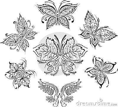 Symmetrical floral butterflies