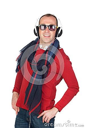 Sympathetic man with headphone
