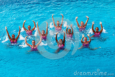 Synchronised Swim Team Dance Action  Editorial Image