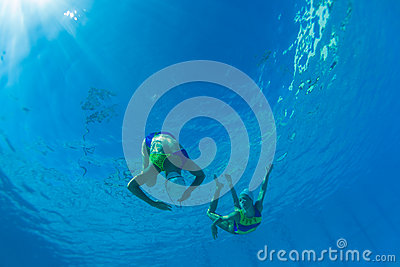 Synchronized Girls Under Water Editorial Photography