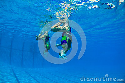 Synchronized Girls Underwater Editorial Stock Photo