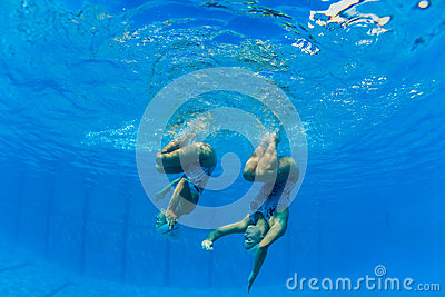 Synchronized Girls Underwater Dance Editorial Image