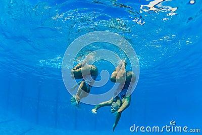 Synchronized Girls Underwater Dance Editorial Image