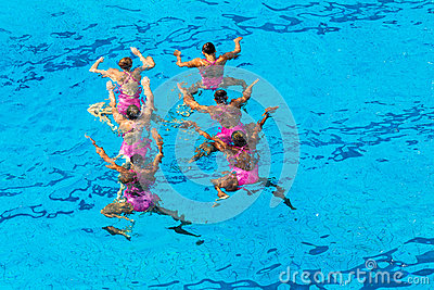 Synchronized Dance Girls Underwater Editorial Photography