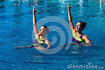 Synchronized Swim Girls Pairs Dance  Editorial Photography