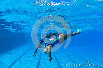 Synchronized Swim Girls Underwater  Editorial Stock Photo