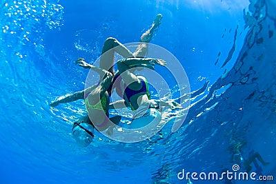 Synchronized Swim Girls Underwater Dance Editorial Photography