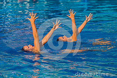 Synchronized Swim Hands Pose Editorial Image