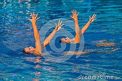 Synchronized Swim Hands Pose Editorial Image