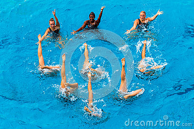 Synchronized Girls Pool Dance  Editorial Photography