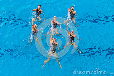 Synchronized Women Six Dance Editorial Image