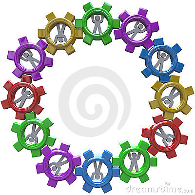 Synergy - Circle of People Turning in Gears