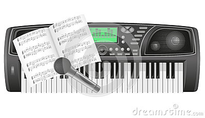 Synth notes and microphone vector illustration