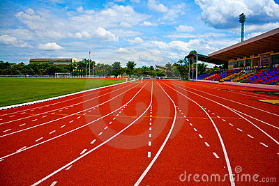 Synthetic running track.