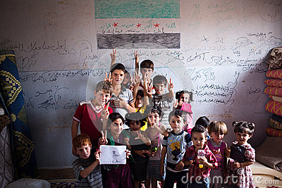 Syrian children at school in Atmeh, Syria. Editorial Stock Photo