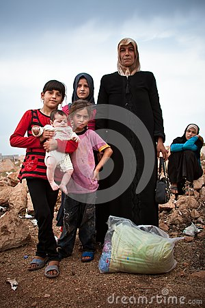 Syrian refugee family. Editorial Photo