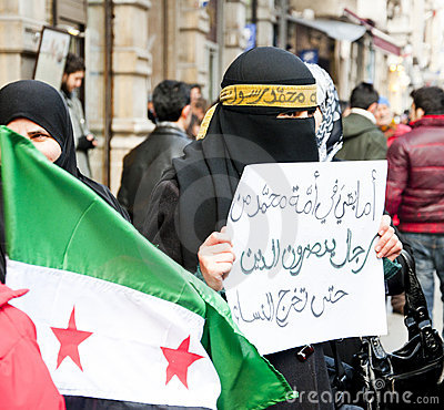 Syrians Protesting Editorial Stock Photo