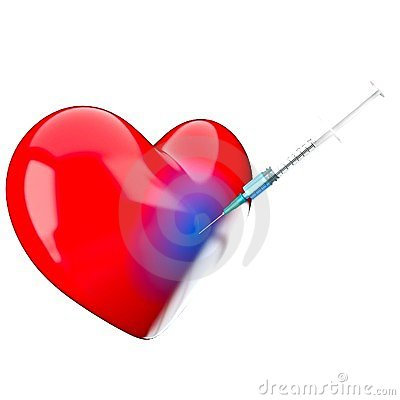 Syringe is in a heart