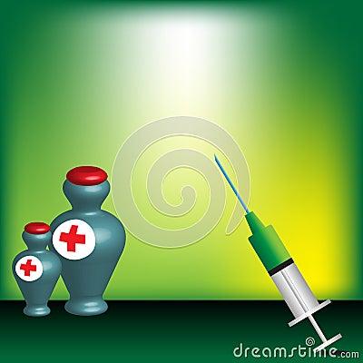 Syringe and medicine bottles