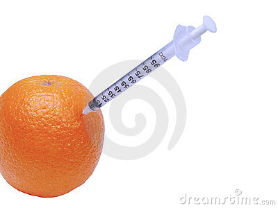 Syringe in orange