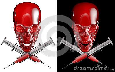 Syringe skull and cross bones