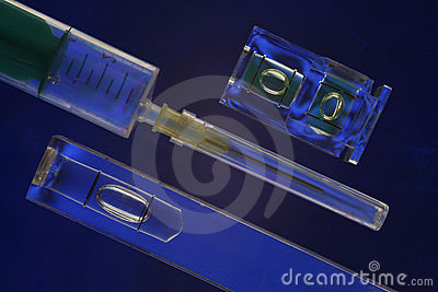 Syringe And Spirit Levels Blue