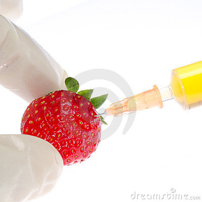 Syringe with strawberry