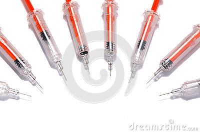 Syringes isolated on white background