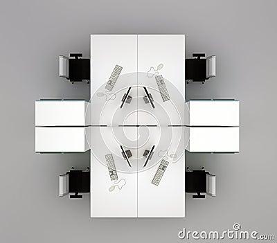 System office desks. Top view