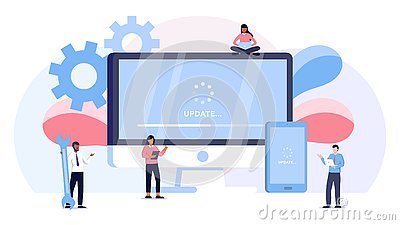 System update vector illustration concept, people update operation system can use for, landing page, template, ui, web, mobile app Vector Illustration