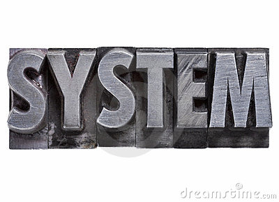 System - isolated word in vintage grunge metal letterpress type.