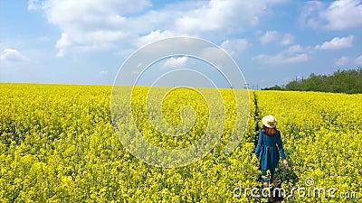 Szczęśliwa, piękna dziewczyna, bawiąca się na kwitnącym polu rzepaku zbiory