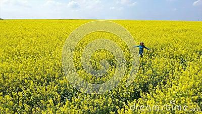 Szczęśliwa, piękna dziewczyna, bawiąca się na kwitnącym polu rzepaku zbiory wideo