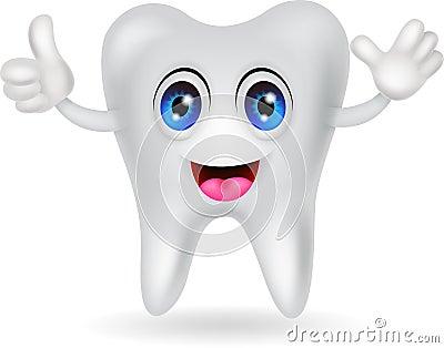 Szczęśliwa ząb kreskówka