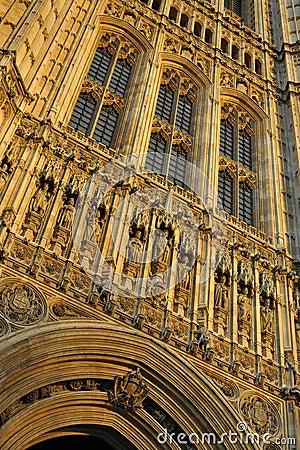 Szczegółu London parlamentu wierza Westminster