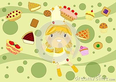 Szczęśliwa kulinarna dziewczyna