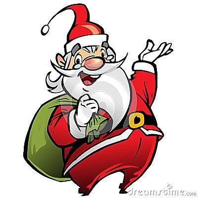 Szczęśliwy uśmiechnięty Święty Mikołaj postać z kreskówki niesie torbę