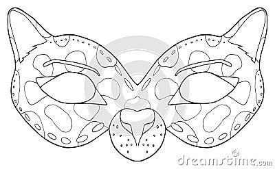 Kleurplaat Gasmasker Szczęśliwy Wakacje Maska Czarna Pantera Ilustracji